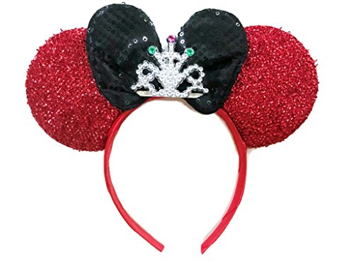 Simple 80s Costume (MeeTHan Mickey Mouse Ears Headband Minnie Mouse ears Tiara headbands : M6 (Red-4T))