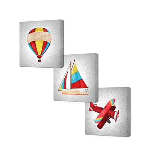 VVOVV Wall Decor Colorful Airplane Sailboat Hot Air Balloon Painting Art Print on Canvas Plane Pictures Baby Room Decor Stretched and Framed Ready to Hang (12