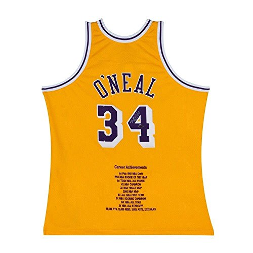 Signed Authentic Lakers Gold Jersey (Shaquille O'Neal Signed Autographed Stat Jersey Los Angeles Lakers Gold #/34 - Upper Deck Certified - Autographed NBA Jerseys)