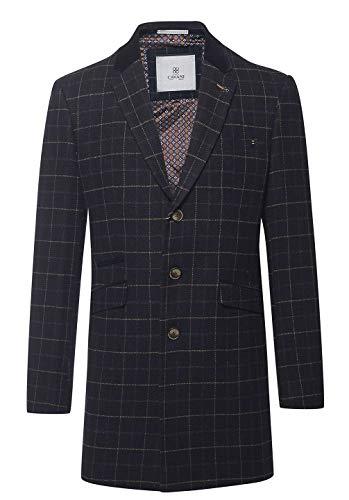 Blu Grigio Cavani Tweed Navy Soprabito House Scuro Giacca Uomo Da Calda Lana Scacchi Of Lungo Vintage 65wqv