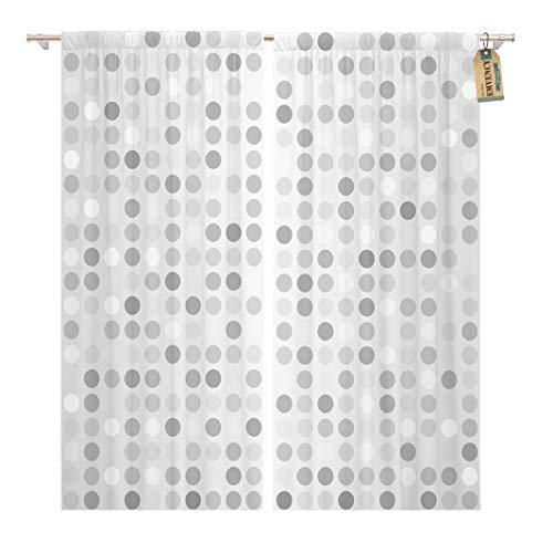 Golee Window Curtain Gray Circular Polka Dot Pattern Grey Silver Circle Gradient Home Decor Rod Pocket Drapes 2 Panels Curtain 104 x 63 inches - Rod Dot Polka