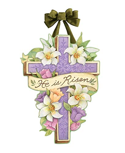 Studio M Door Decor Easter Cross Spring Decorative Front Door Sign with Handmade Bow Hanger, Durable Fade Resistant PVC, Made in The USA, 14.25