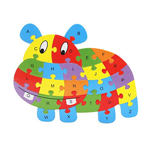 Hoolick,Kids Baby Wooden Wood Animal Cognition Puzzle Numbers Learning Educational Toy