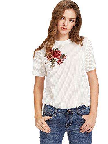 ROMWE Women's Velvet Ribbed O Neck Flower Slits Hem Tee Top Blouse White L