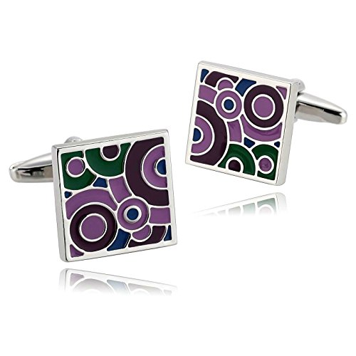 Aooaz Mens Stainless Steel Cufflinks Color Squares Shirt Business Wedding Retro 1.6X1.6Cm [Gift Box]