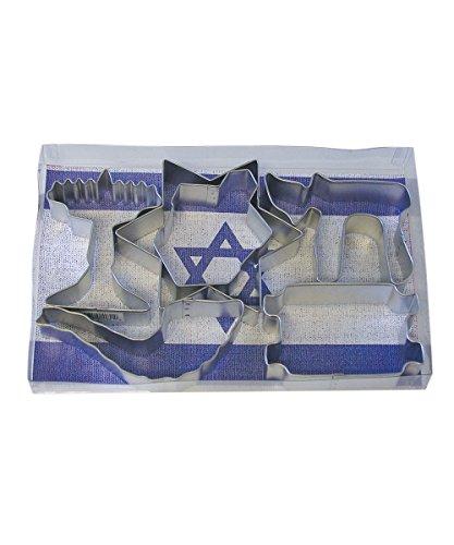 R&M International 1970 Jewish Holiday Cookie Cutters, Chai, Menorah, Dreidel, Shofar, Torah, Star, 6-Piece - Hanukkah Cookie