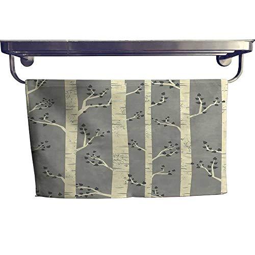 alisoso Grey Sports Towel Set Birch Tree Branches Vintage Bohemian Contemporary Illustration of Nature Handkerchief Set W 14