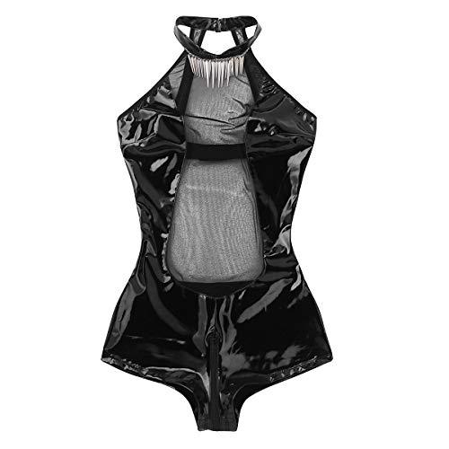 Agoky Women's Halter Neck Mesh Splice Zipper Crotch Bodysuit Backless Teddy with Necklace Black X-Large ()