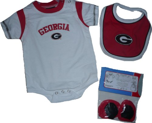 Adidas Georgia Bulldogs Team Color Infant Bib and Bootie Set - Red-24 Mth
