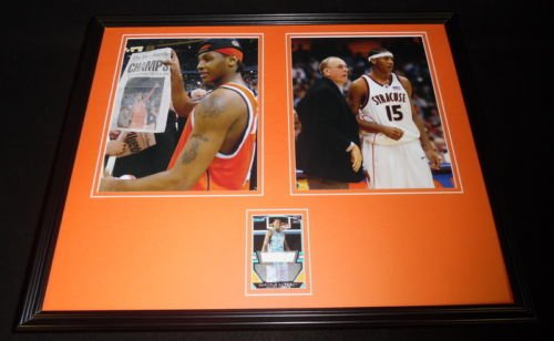 Carmelo Anthony Signed Framed 16x20 Rookie Card & Photo Set TOPPS Syracuse