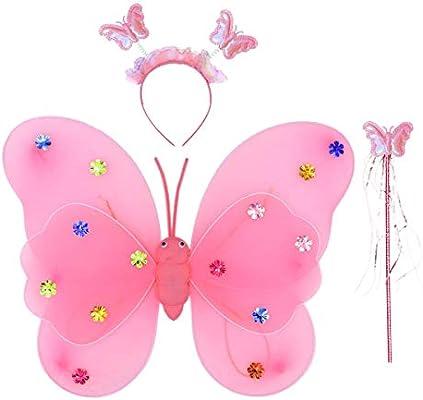 Amosfun 3 Piezas Disfraz de Mariposa de Niñas con LED con Alas de ...