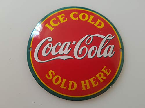 Porcelain Enamel Sign - Classic COCA COLA ICE Cold Porcelain Enamel Door Sign EMAILLE! 4 INCH = 12cm! Weight 0.22lb!! Replica!