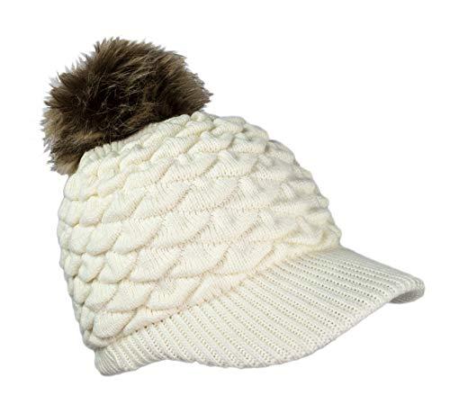 Thick Chunky Knit Visor Beanie Baseball Cap Hat w/Removable Faux Fur Pom Pom (Ivory)