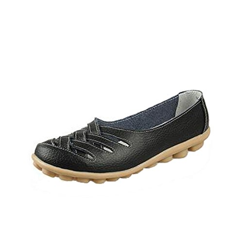 ANDAY Women Casual Comfy Hollow Leather Non-Skid Work Lazy Doug Shoes Mothers Flats Black