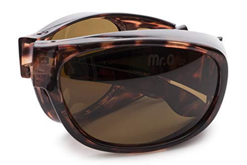 Folding Fitover Sunglasses with Polarized Lenses, Leather Case and Microfiber Cloth (Tortoise) ()