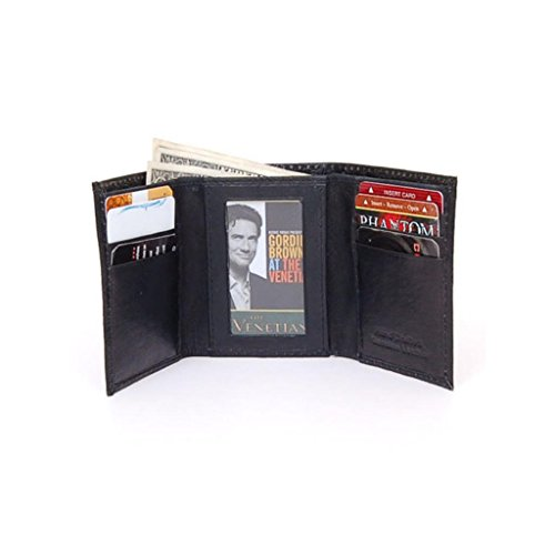 Wallet Mens Leather Wallets Ostrich Snakeskin Print to Choose-Trifold Black Ostrich