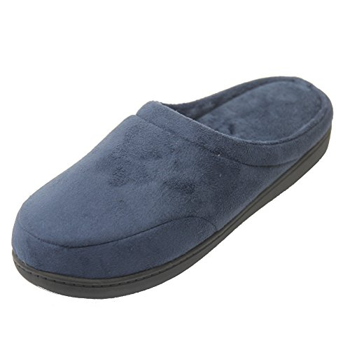 Gohom Womens Casual Flannel Memory Foam Indoor House Warm Slippers Navy Blue