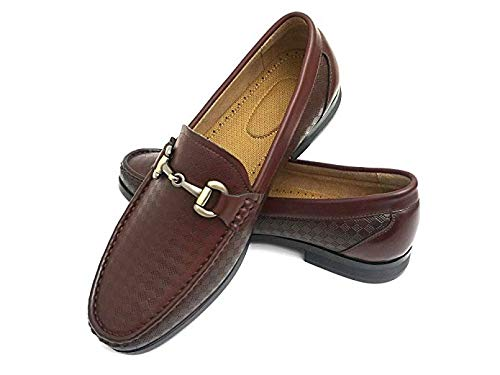 - Easy Strider Men's Loafer Shoes - Elegant Silver Metal Buckle - Perfect Business Dress Shoe for Men or Casual Slip-On Loafer for Daily Wear - KM6014-RB-10