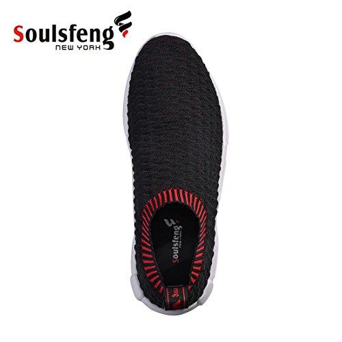Soulsfeng Scarpe Da Donna Slip On Sneakers Uomo Nero Moda Leggera Struttura A Scala Di Pesce Mesh Traspirante Casual Scarpe Da Corsa Nere