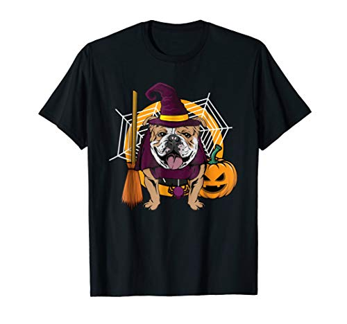 Witch Bulldog Dog T Shirt Costume For Spooky -