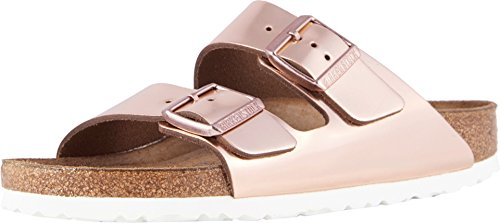 (Birkenstock Women's Arizona Soft Footbed Sandal Metallic Copper Leather Size 39 Regular EU)