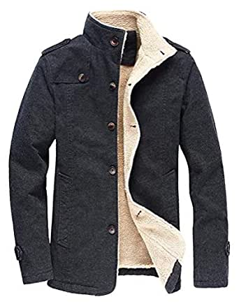 Men's Winter Fleece Windproof Jacket Wool Outerwear Single