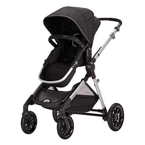 Evenflo Pivot Xpand Modular Stroller, Baby Stroller, Converts to Double Stroller, 4 Modes, Durable Construction, Extra-Large Storage Basket, Compact Folding Design, 55-lb Capacity, Stallion Black