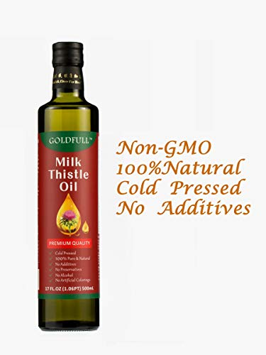 Goldfull Milk Thistle Oil,100% Pure Natural GMO Free Non GMO Extra Virgin First Cold Pressed Milk Thistle Seed Oil,Silybum Marianum Oil,Vegetable Oil Cooking Oil 17 FL.OZ 500ml