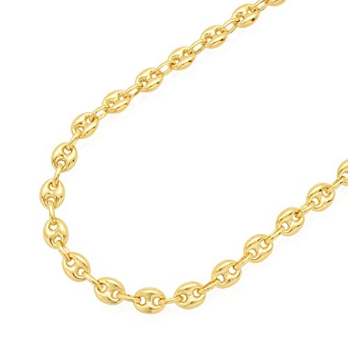 14k Yellow Gold Hollow 7mm Fancy Gucci Puff Anchor Link Chain Necklace 20
