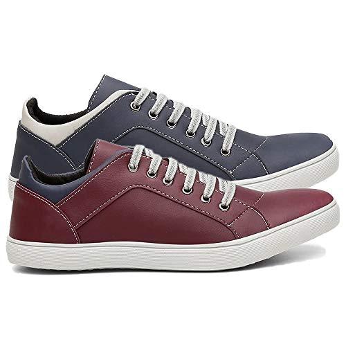 Kit 2 Pares Tênis Sapatênis Casual Masculino Conforto Sapato Macio Cor:Azul e Vermelho;Tamanho:44