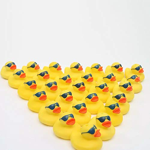 (GARISH PIGS Floating Rubber Ducks Cute Baby Water Bath Toys Sunglasses Style Cool Duck Classic Toys Gift for Boys Girls Baby New 2019 30pcs/lot)