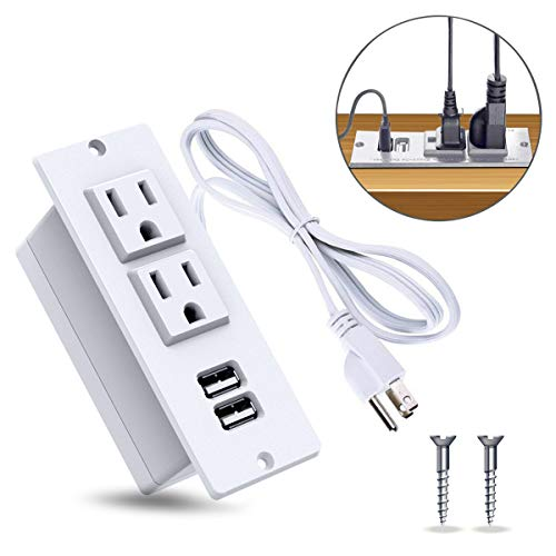YaBland Desktop Power Strip with USB Conference Recessed Power Socket,Table Power Outlet Fireproof Safety Desk Power Plug,2 USB Port with 9.8ft Power Code for Kitchen,Office,Home,Hotel Etc.(White)