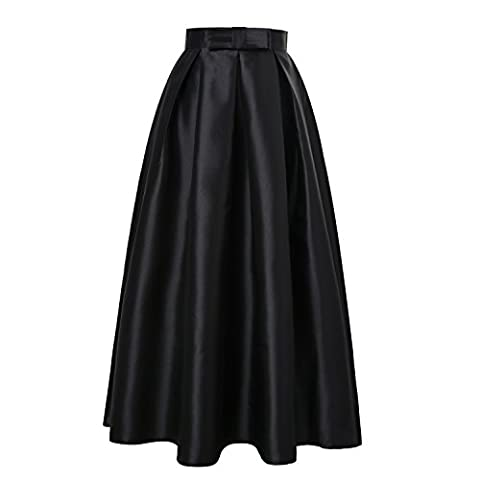 ISYITLTY Women's Winter Solid Pleated Party OL Full Long A-line Skater Skirts BlackXL