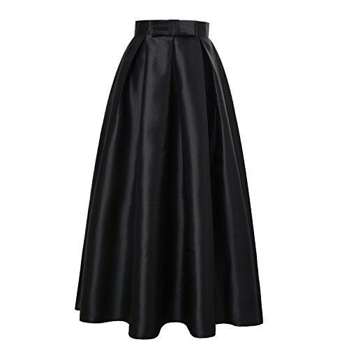 ISYITLTY Women's High Waist Solid Pleated A-line Maxi Party Skirts Black XXL