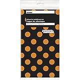 "Orange & Black Polka Dot Halloween Plastic Tablecloth, 108"" x 54"""
