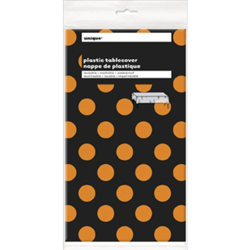 Orange & Black Polka Dot Halloween Plastic Tablecloth, 108