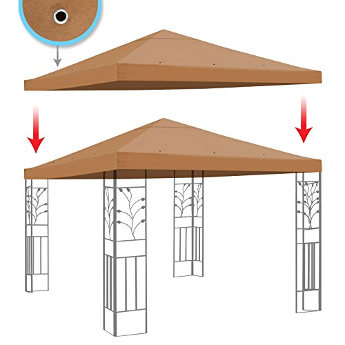 BenefitUSA Replacement Gazebo Canopy Top Patio Pavilion Cover Sunshade Polyester Single Tier, Tan ()