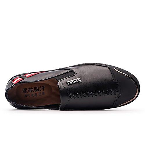 Insun Mens Lederen Slip Op Instappers Sneakers Zwart