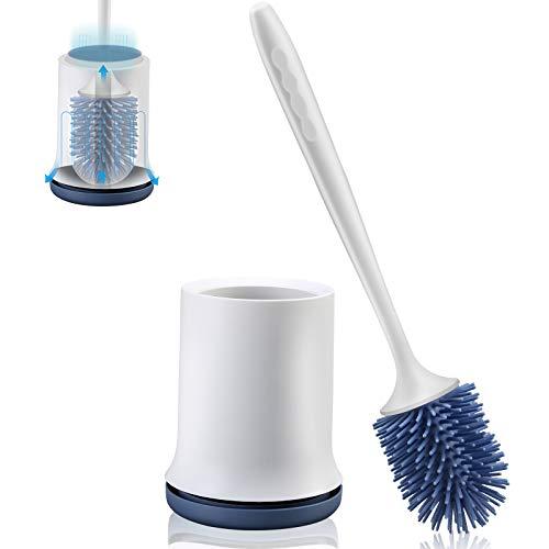aifulo Toilettenbürste,WC-Bürsteund Behälter,Handgriff ist abnehmbar und schnell trocknendem Haltersatz,Wandmontage & Stehen für Badezimmer Toilette und Gäste-WC (Blau)
