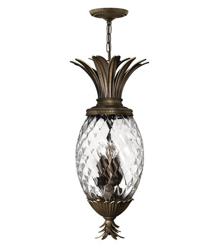 Pearl Bronze Foyer Pendant (Hinkley 2222PZ Leaf, Flower, Fruit Four Light Pendant Foyer from Plantation collection in Bronze/Darkfinish,)