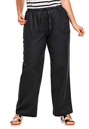 (Ellos Women's Plus Size Linen Blend Drawstring Pants - Black, 10)