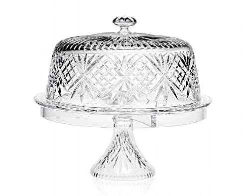 Godinger Glass 4-in 1 Multifunctional Cake -and-Dessert Serving Stand Bowl with Dome Lid by Godinger