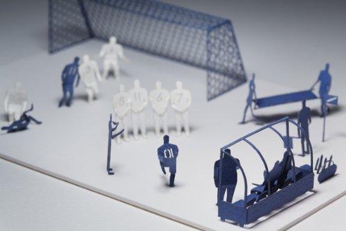 1/100 architectural models for Tenkei set soccer Teradamokei Hen ( Blue ) by Teradamokei