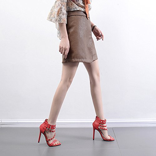 Femmes Rivet Rome Peep Toe Sandales Ankle Strap Boucle Haute Talons Parti Chaussures Taille Red oCqNXvNqJ