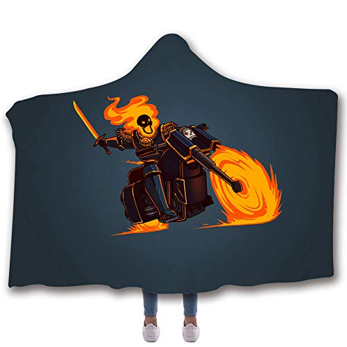 Allan J Beasle Super Soft Hooded Blanket, Ghost Rider 3D Printed Comfortable Wearable Warm Cozy Throw Blanket, Blanket for Kids Adults -