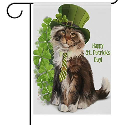 Wamika St Patrick's Day Garden Flag 12 x 18 Double Sided, Cat Leprechaun Watercolor Clover Shamrock House Yard Flags Spring Welcome Outdoor Indoor Banner for Party Home Saint Patricks Day Decoration -