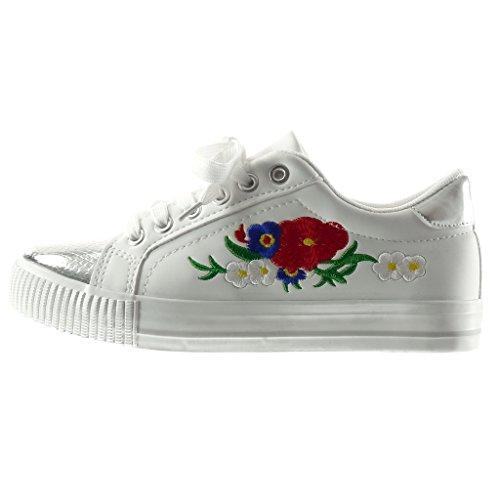 Angkorly - Scarpe da Moda Sneaker donna fiori ricamo pelle di serpente Tacco tacco piatto 2.5 CM - Bianco