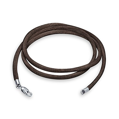 Cord Silver Plated Necklace - Bling Jewelry Brown Silk Cord Silver Plated Lobster Claw Clasp Necklace 16 Inches