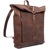 9e3cd68f62 Brown Buffalo Leather Rucksack Vintage Backpack - Fits 15 Inch Laptops and  iPads - Handsome Patina