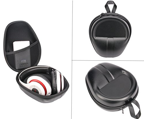 Protection Headset-headphones Carrying Hard Case Bag Box Cover Case for Beats Studio3 Beats Solo3 Beats EP Sony MDRV6 Sennheiser HD 380 PRO, Cowin E-7, Beats and More On-Ear Headphone (Hard Black)